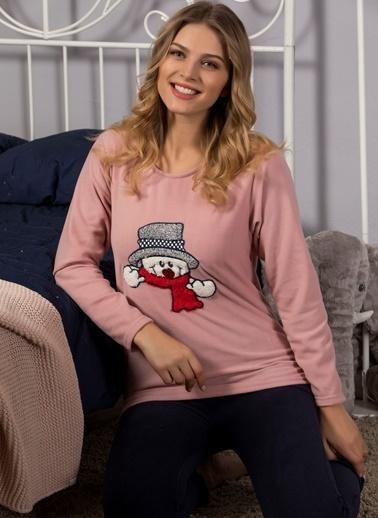 Strawberry Welsoft Nakışlı Ultrasoft Polar Pijama Takımı Pudra